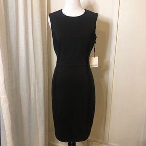 CALVIN KLEIN Black Sheath with Suede Trim Dress 2